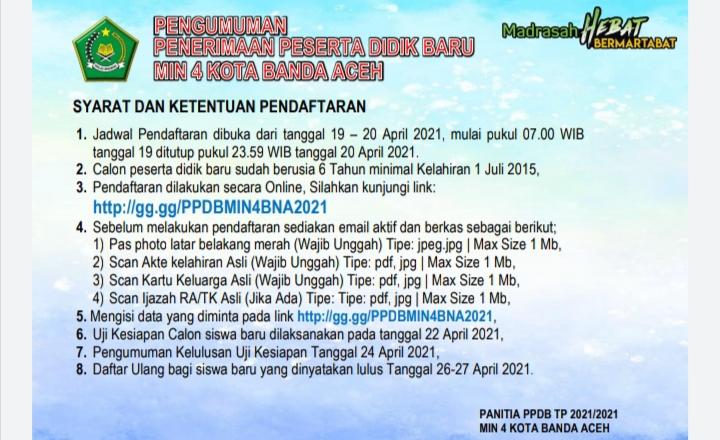 Penerimaan Peserta Didik Baru Ppdb Min 4 Kota Banda Aceh